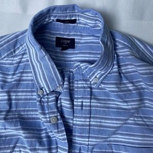 Men's J Crew blue striped button down - medium